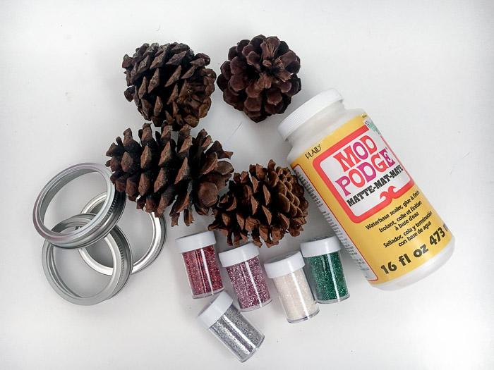 Materials needed to make the pine cone door hanger