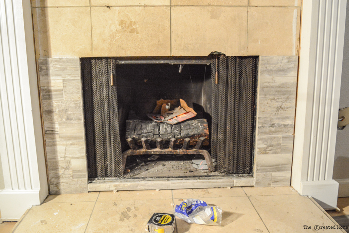 tile over tile fireplace