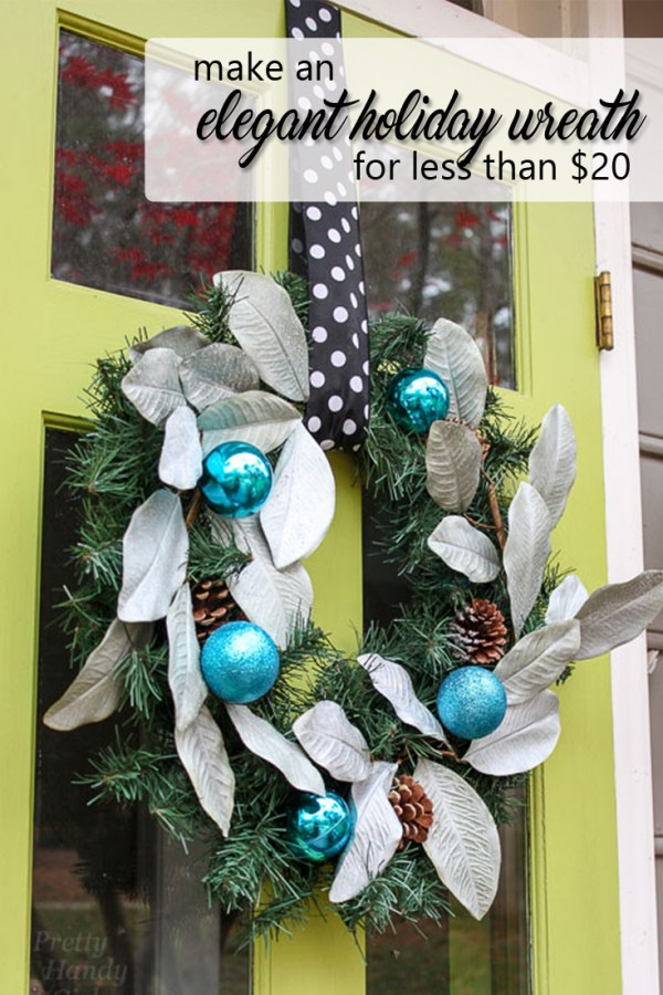elegant holiday wreath for less than 20 - pinterest image