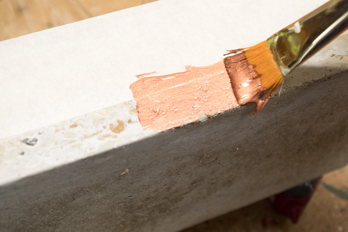 DIY Concrete Desk Organizer- paint bottom section with copper paint