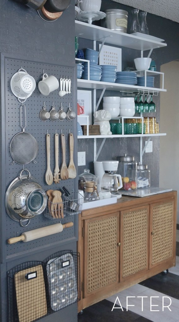 Pegboard storage solution in the kitchen