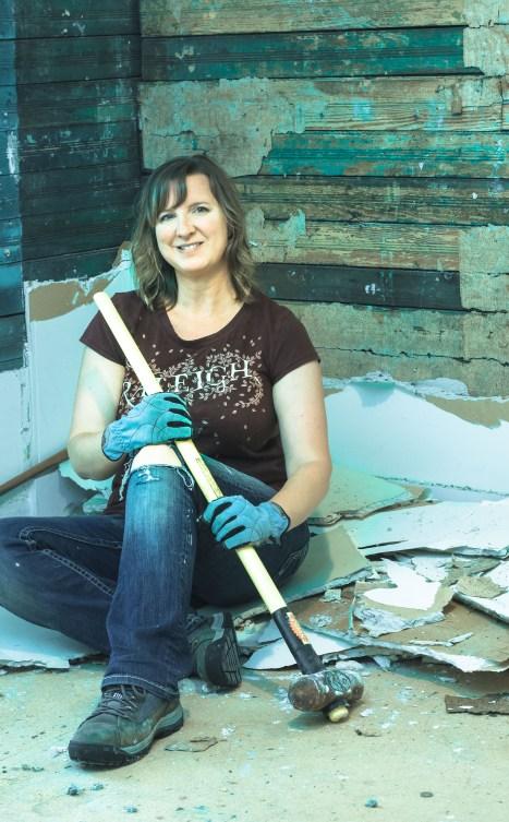 pretty handy girl sledgehammer exposed bead board