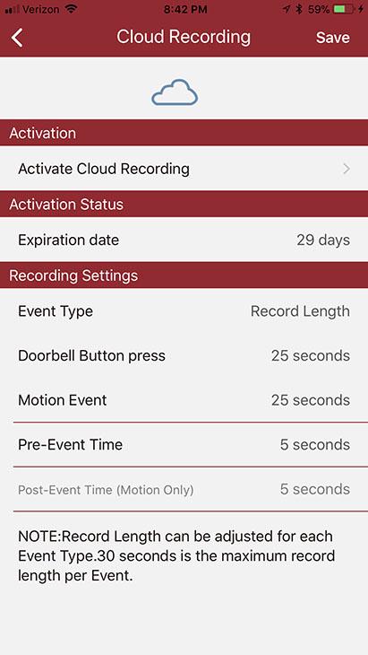 NuTone Knock cloud recording options
