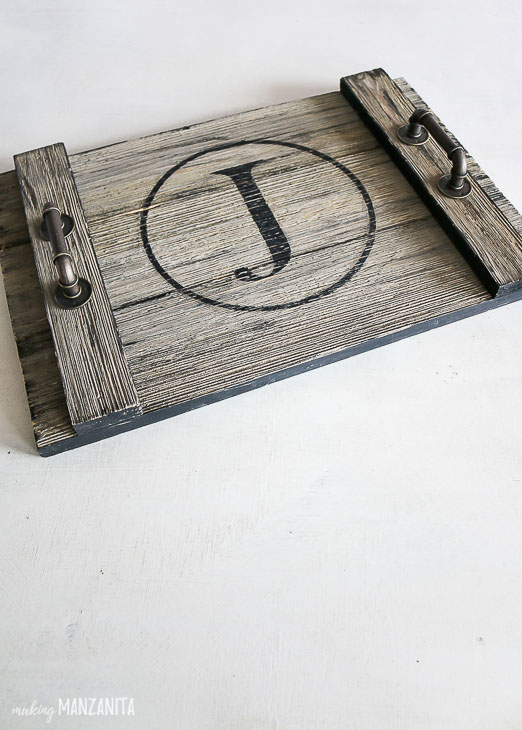 finished rustic wood serving tray with J monogram in circle