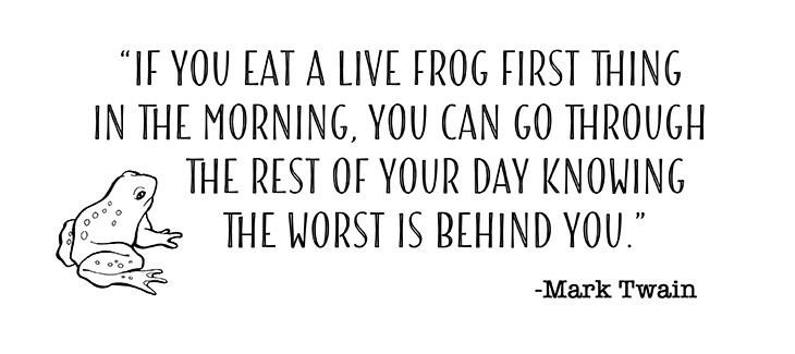 Eat your frog first thing in the morning Mark twain quote