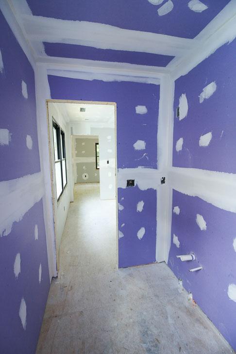purple drywall in bathroom