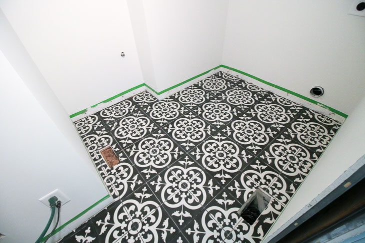 Avington Cement Tiles laid in laundry room