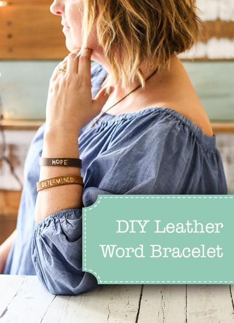 DIY Leather Word Bracelet