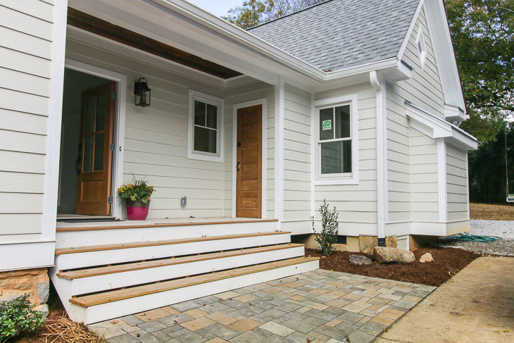 side view with paver patio