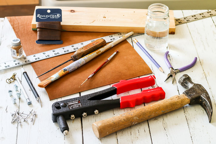 tools for making stamped leather bracelets