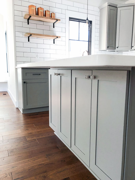 island cabinets on seating side