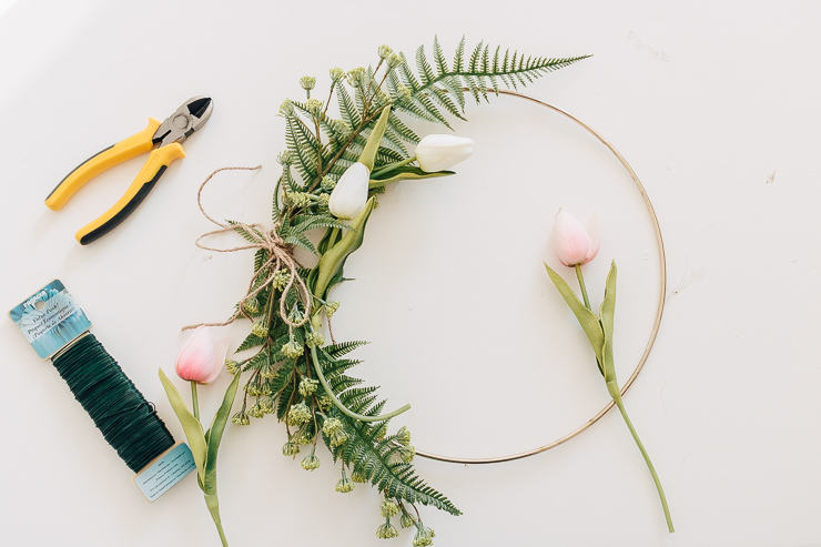 Faux Tulips add a nice touch to your hoop wreath