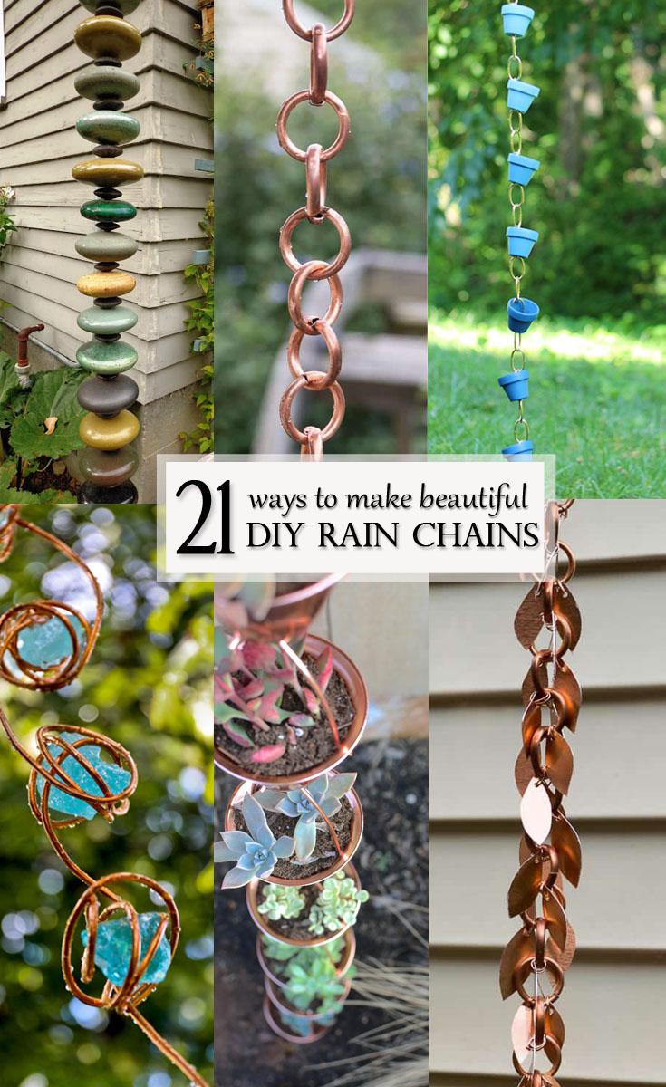 Beautiful ideas for DIY Rain Chains - Pinterest Image