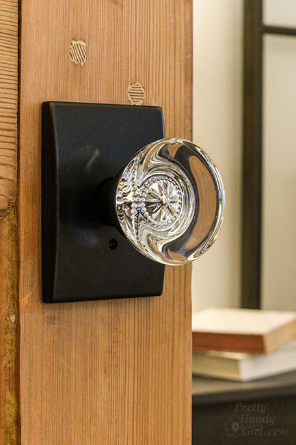 with intricate details in the glass knob