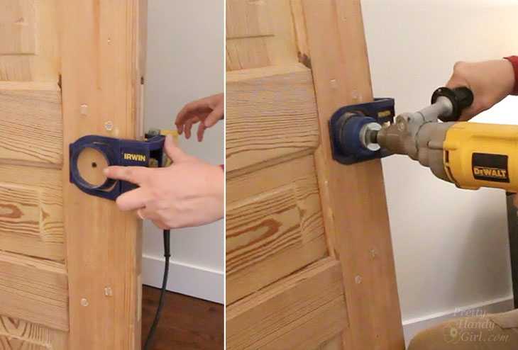 Small center bit hole drilled through door, switch sides to drill door knob hole