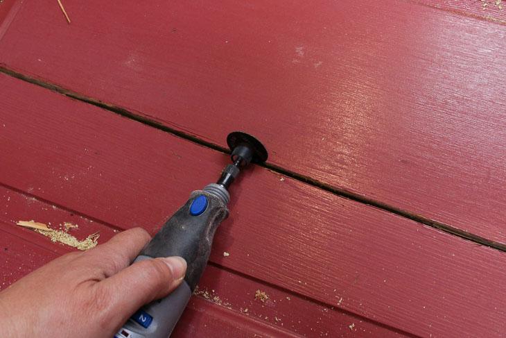 Open door panel crack with dremel cutting wheel