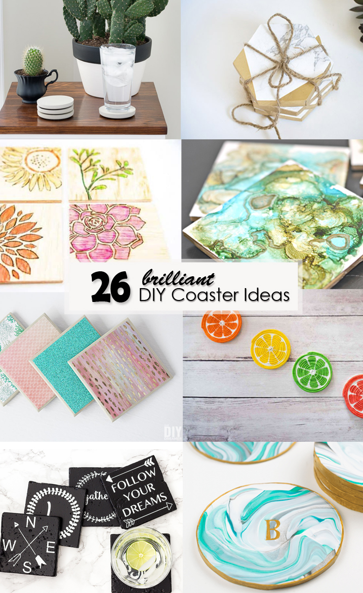 26 brilliant DIY Coaster Ideas Pinterest image