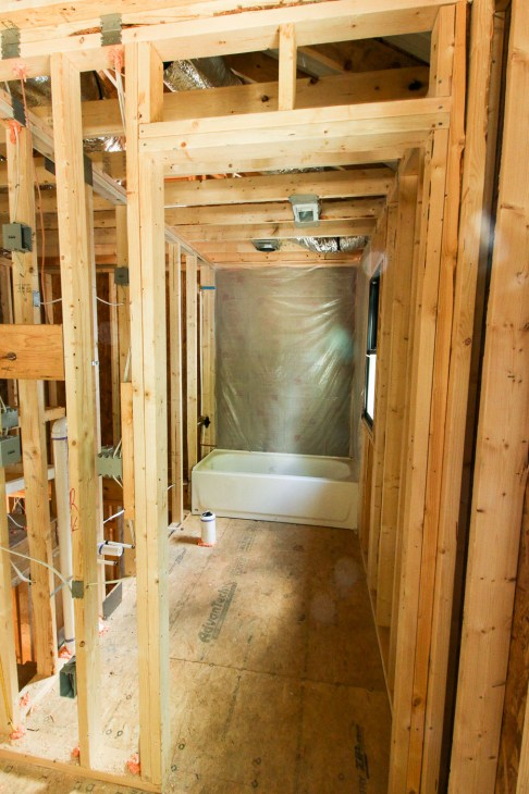 Upstairs Bathroom Framing and tub in