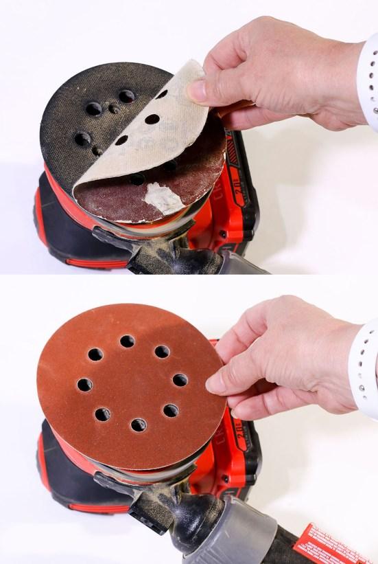 removing worn orbital sander paper, replacing hook and loop sandpaper