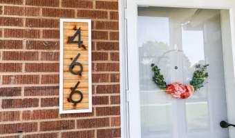 DIY cedar house number sign