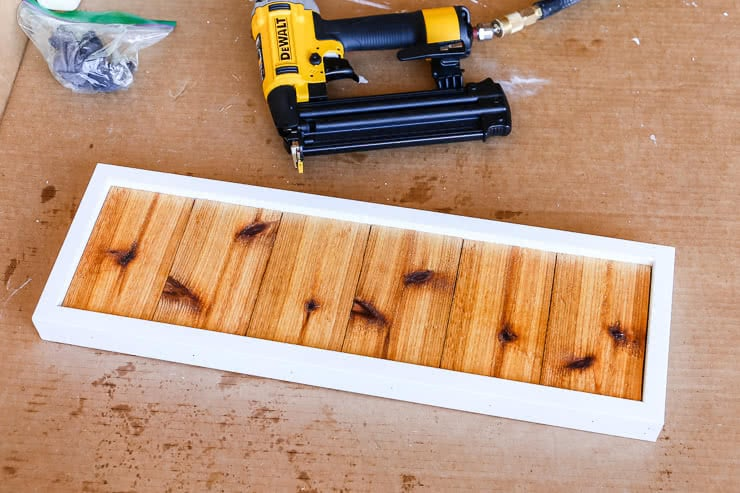 cedar and white trim for house number sign