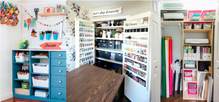 Built in Craft Room Closet Storage