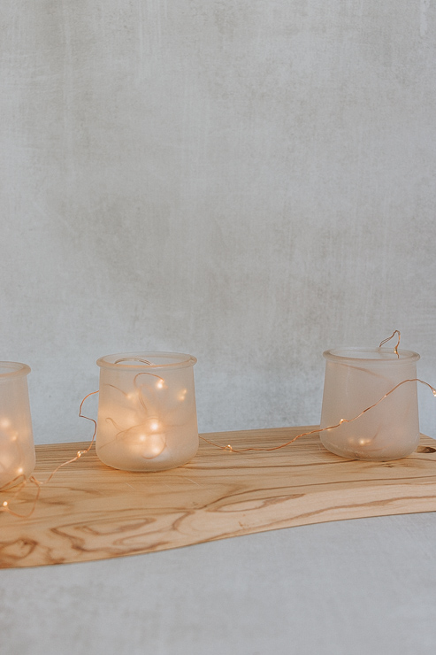 Frosted Candle Holders hold fairy lights too