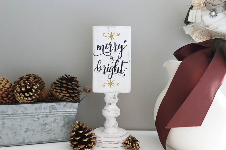 Finished Merry and Bright side on reversible wooden sign