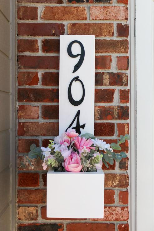 Finished diy house number planter box