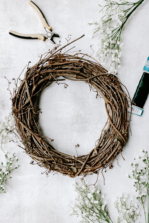 Materials needed to make a Spring Wreath