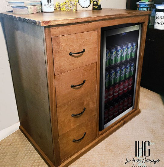 diy beverage center housing mini fridge
