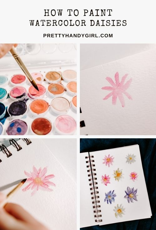 tutorial for painting watercolor daisy flowers