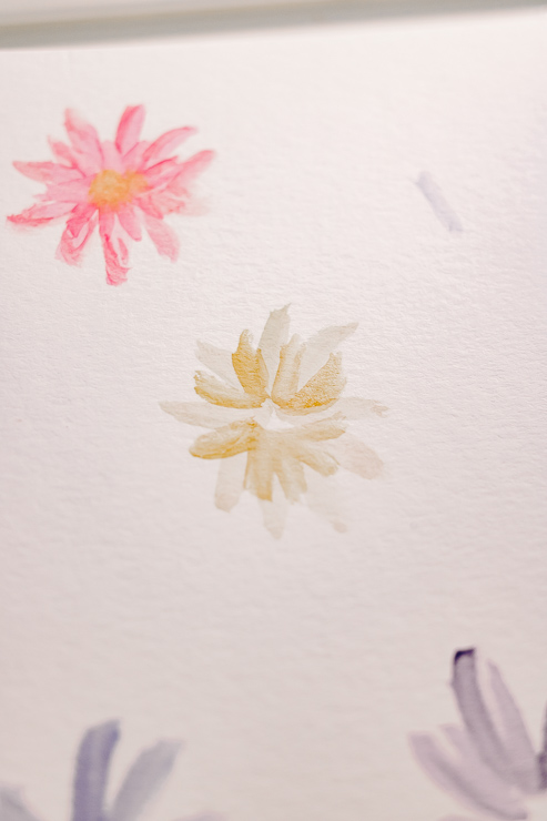 yellow and pink watercolor daisy flowers