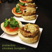 Pistachio Chicken Burgers with Rosemary Goat Cheese Spread