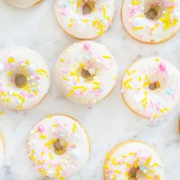 Lemon Cake Donuts with Fancy Sprinkles