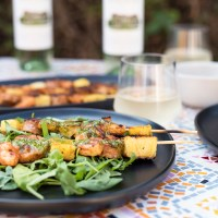 Shrimp & Chorizo Skewer Recipe Paired with a Glass of Vinho Verde!