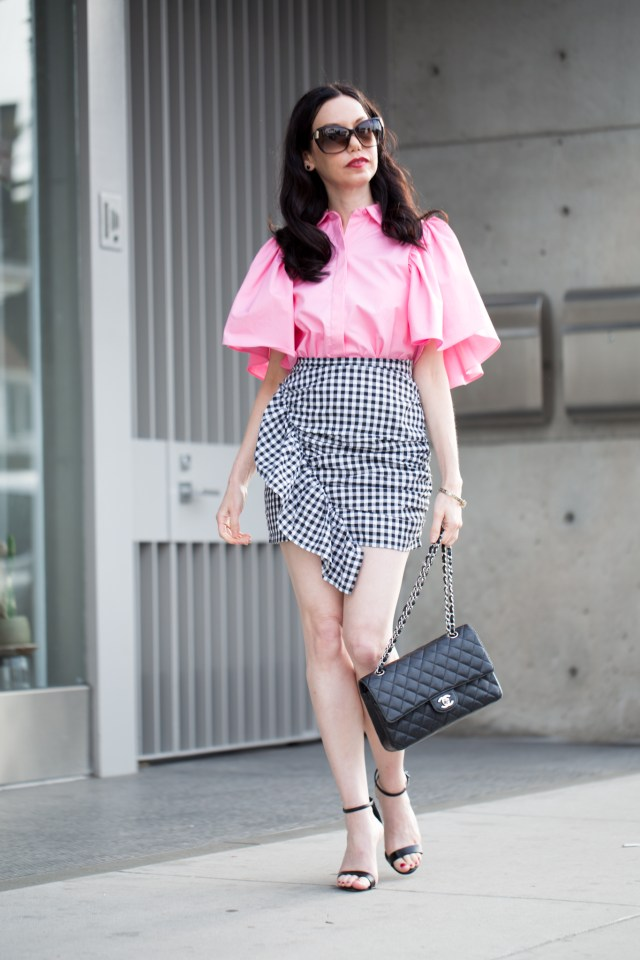 Storets Gingham Skirt and Zara Ruffled Blouse