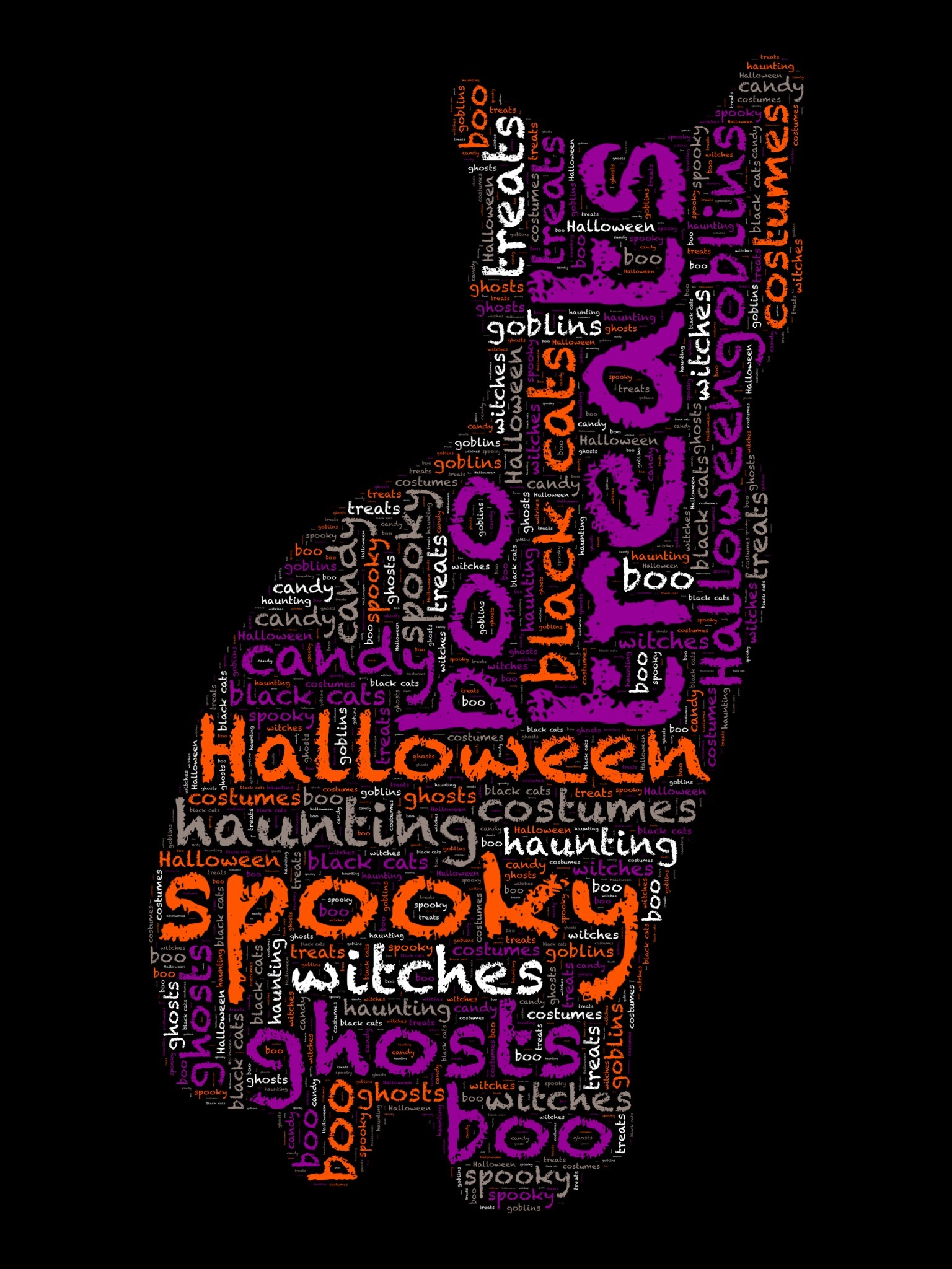Printable Halloween Cat Word Art In 5 Different Colors