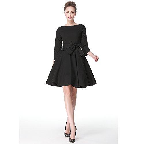 Heroecol® 50s 60s Hepburn 3/4 Sleeve Style Vintage Retro Swing Rockailly Dresses