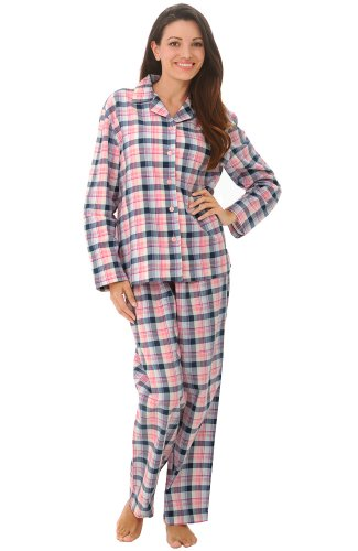 Del Rossa Women's 100% Cotton Flannel Pajama Set – Long Pjs