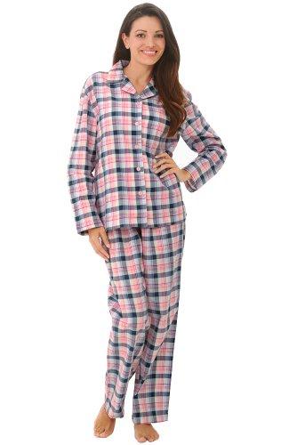 Del Rossa Women's 100% Cotton Flannel Pajama Set – Long Pjs