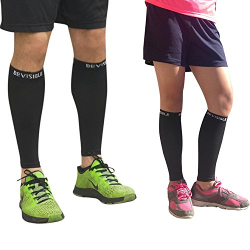 Calf Compression Sleeve – BeVisible Sports Men and Women's Leg Compression Sleeves – True Graduated Compression – Calf Guard Shin Splints Sleeves – Best for Basketball, Running, Baseball, Walking, Cycling, Training and Travel – Boosts Circulation – Aids Faster Recovery – 1 Pair – Satisfaction Guaranteed