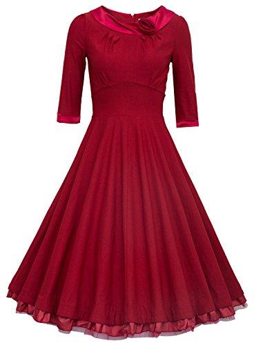 MUXXN® Ladys 1950s Rockabilly 3/4 Sleeve Swing Vintage Dress