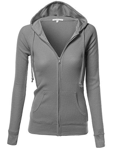 Xpril Women's Basic Lightweight Zip Hooded Jackets
