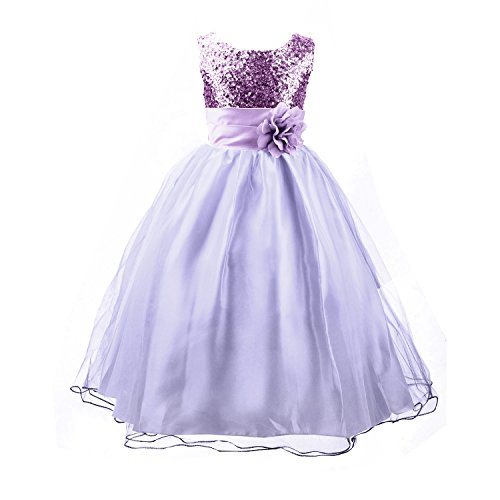 Acecharming Girls' Sequin Satin Tulle Wedding Pageant Flower Girl Party Dress