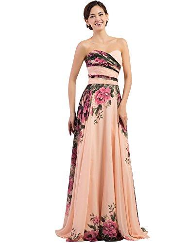 GRACE KARIN® Floral Print Graceful Chiffon Prom Dress for Women (Multi-Colored)