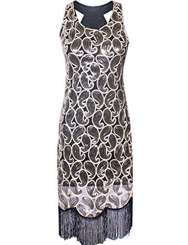 PrettyGuide Women 1920s Sequin Paisley Racer Back Tassels Hem Flapper Cocktail Dress