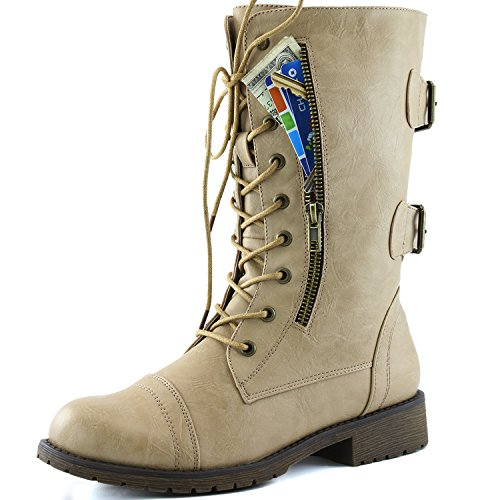 DailyShoes Women's Military Combat Lace up Mid Calf High Credit Card Knife Money Wallet Pocket Boots