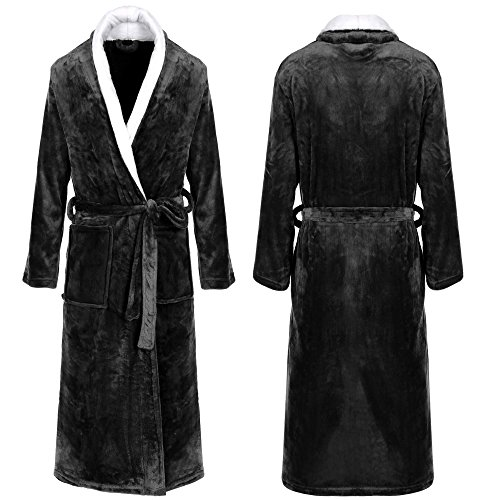Ekouaer Men's Women's Unisex Microfleece Shawl Collar Long Bathrobe Spa Robe