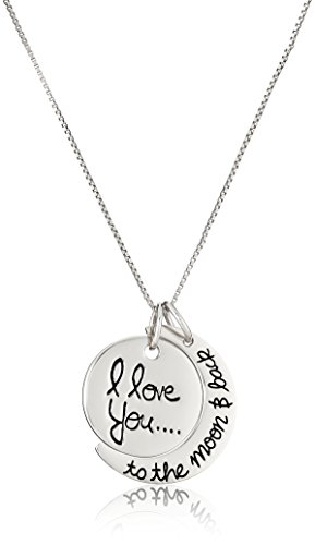 """Sterling Silver """"I Love You To The Moon and Back"""" Pendant Necklace, 18″"""
